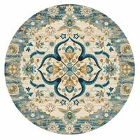 INS Ethnic Retro Jacquard Mandala Round Mat Flower Nordic Marble Printed Round Carpet For Livingroom Kids Room Large Area Rug