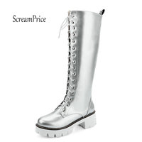 Women Platform Thick High Knee High Boots Fashion Lace Up Winter Fighting Boots White Red Black