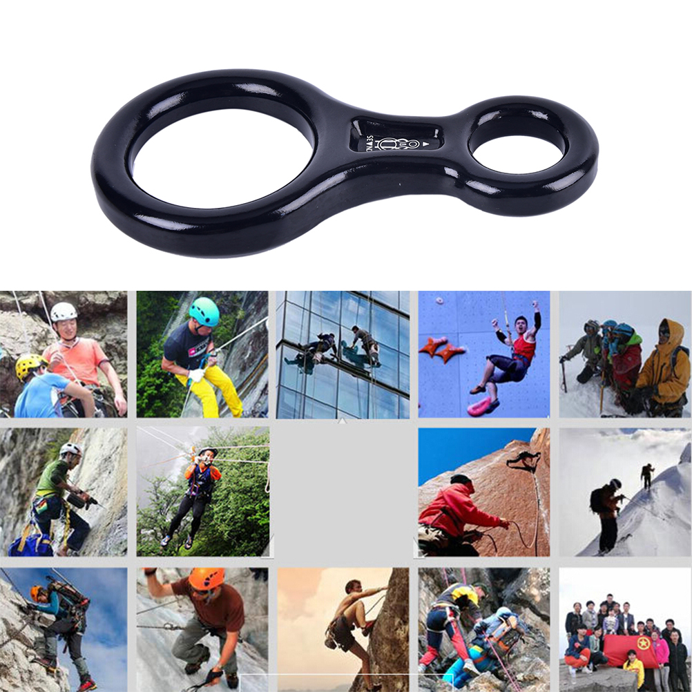 Black 35KN 8 Rappel Rock Climbing Alloy Gear Rescue Belay Descender for Camping Hiking Travel