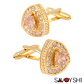 SAVOYSHI Jewelry Shirt Cufflinks for Men's Gold White Crystal Triangle Zircon Cufflinks Free Shipping