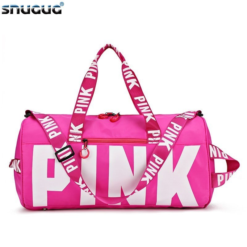Us 12 75 41 Off Snugug Outdoor Clothing Fitness Bag S Waterproof Pink Gym Men Nylon Woman Sport For Training Travel Handbags In