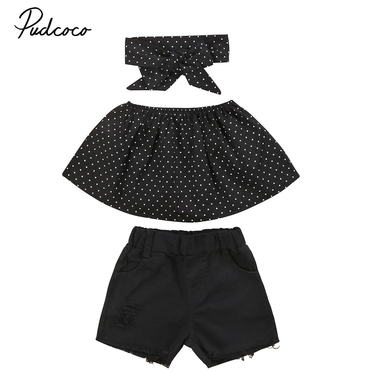 3pcs Kids Girl Off Shoulder Dot Tops Hot Pants Bowknot Headband Outfits Set Clothes Girls Summer Black Clothing 1-6Y