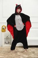 Cartoon Animal Conjoined Bat Kigurum Onesies Unisex Adult Flannel Hooded Pajamas Children Cosplay Cute Animal Sleepwear