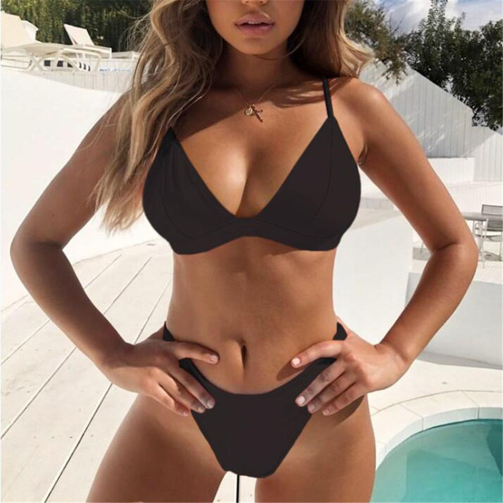 Trend Sexy Girl Bikini Set Women Solid High Cut Bathing Suit Swimwear Summer Beach Wear Female Low Waist Red Swimsuit Biquini #E