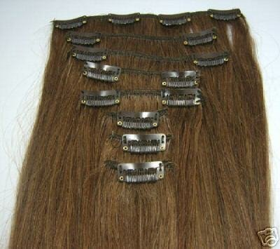 "2011 Fashion hair piece 22""14pcs wigs clip in on Hair Extensions light Brown 3 set/lot 8#"