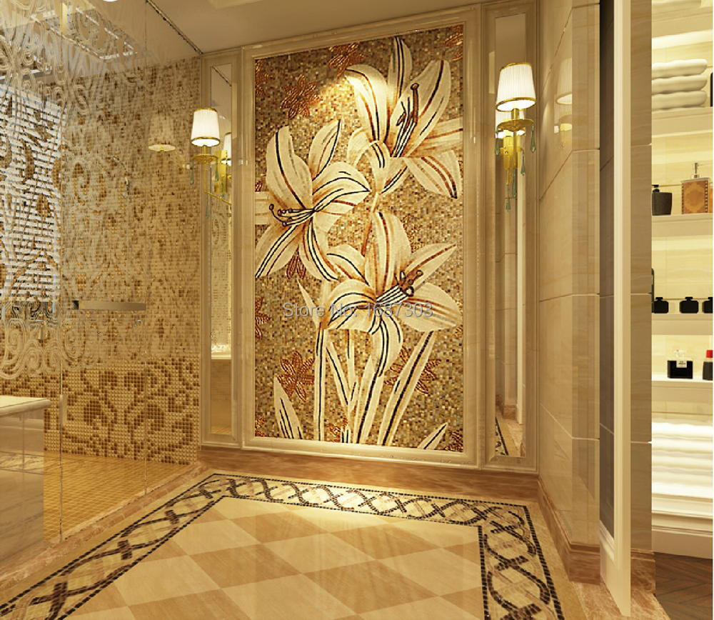 Luxury 100% Hand Cut Art Lily Flowers Glass Mosaic Mural Home ...