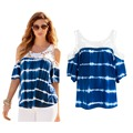 Women Lace T shirt 2016 Summer Fashion Style Stitching Blue Tie-dye Gradient Color Cold Shoulder Tops Free Shipping