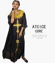 Vestidos africanos para mulher material macio bordado design vestido la082
