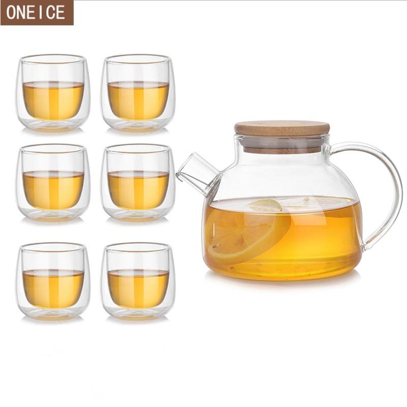 الحرارة مقاومة شفافة أبريق شاي زجاجي إبريق قهوة الحرفية الصينية الكونغ فو الشاي 7-قطعة مجموعة 80 ml/500 ml الخيزران غطاء