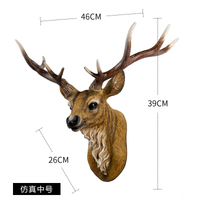 Scandinavian style retro animal head wall hanging simulation wall hanging living room trumpet American deer head wall hanging fo