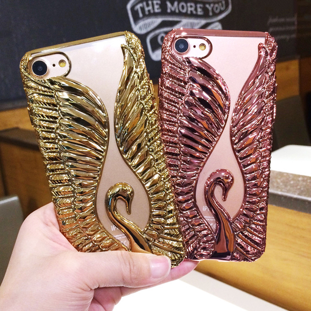 Luxury Gold Plating Case For iPhone 7 7Plus 3D Rugged Cartoon Swan Glitter Phone Cases  TPU Soft Cover For iPhone 6 6S/ Plus Capa
