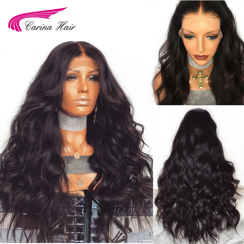 Carina Brazilian Remy Human Hair Body Wave Lace Front Human Hair Wigs With Baby Hair Around Cap Middle Part Pre-Plucked Hairline