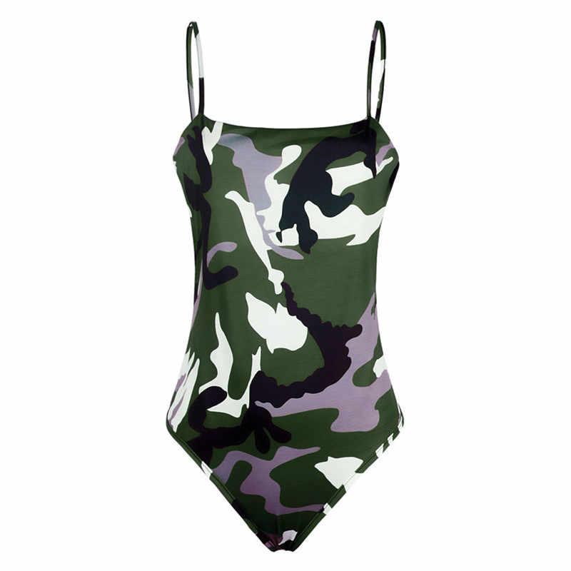 2019 для женщин летние камуфляжные купальник с камуфляжным принтом Розовый Армейский зеленый спагетти повязки женский купальник одежда боди
