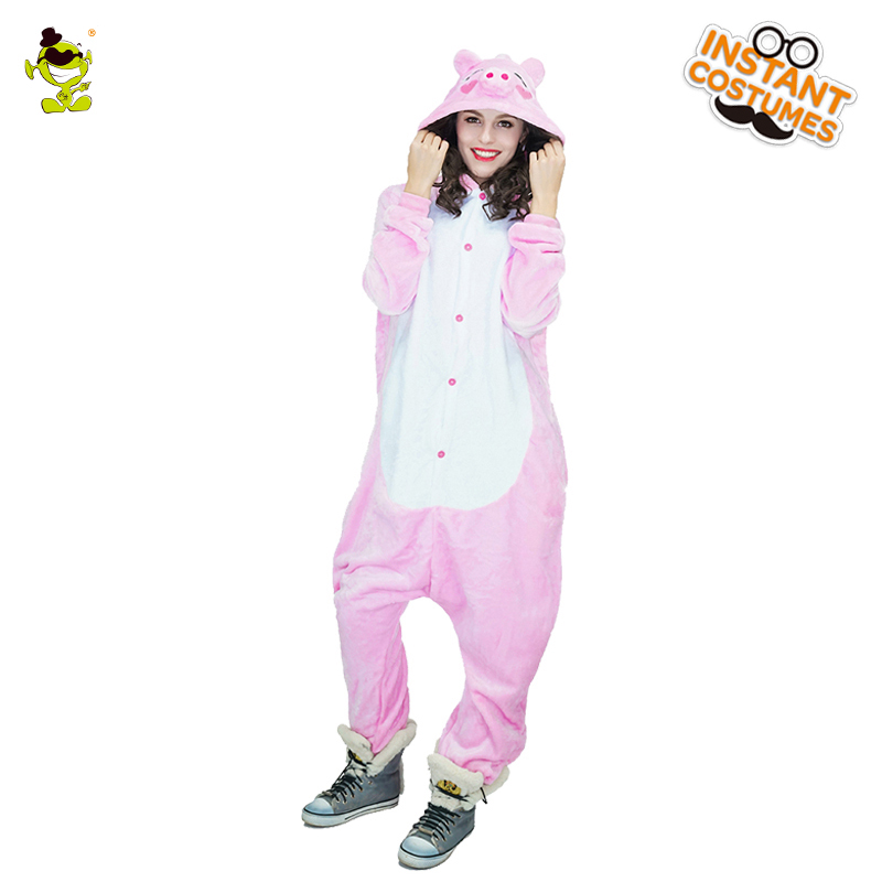 Winter Woman Pig Pajamas Costumes Women Cosplay  Pink color nightwear for Carnival Party Dressup Lady's Sleepwear Costume