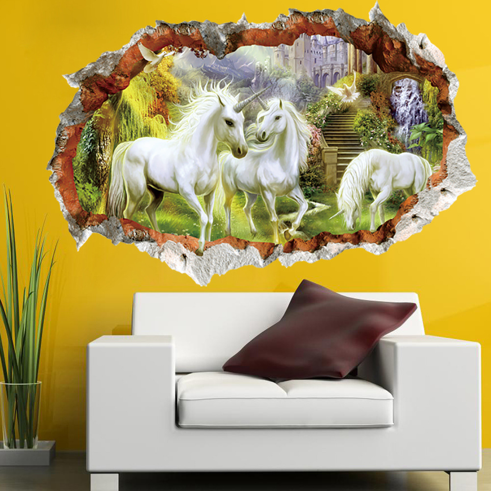 unicorn wall sticker full color girls boys fairy tale bedroom 3d broken windoe decorations. Black Bedroom Furniture Sets. Home Design Ideas