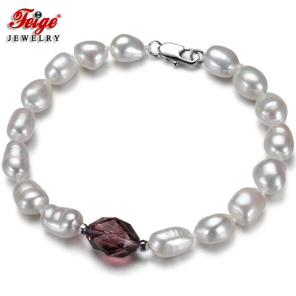 Fashion Baroque Natural Pearl Bracelet for Women Gift 7-8MM Freshwater Pearl Wine Red Crystal Strand Bracelet Fine Jewelry FEIGE 8mm crystal translucent pearl bracelet