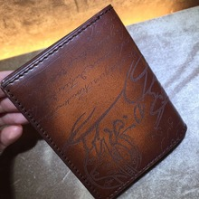 TERSE_Hot sale handmade leather card holder mens womens genuine leather card wallet in 4 colors with calligraphy custom service