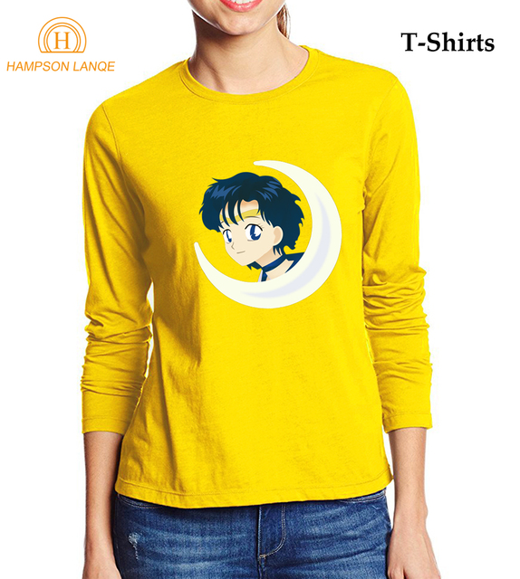 5870c602a07919 Japan Anime Kawaii Sailor Moon T-shirt Damen 2017 Herbst 100% baumwolle  Frauen Langarm