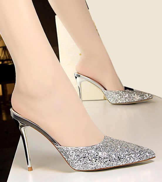 7c427af91 ... Sequined bling sex stiletto heels pump women shoes slides slipper mules  ladies dress shoes backless slides ...