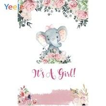 Yeele Elephant Flower Newborn Girl Baby Shower Photography Backdrop Custom Vinyl Photographic Background  For Photo Studio