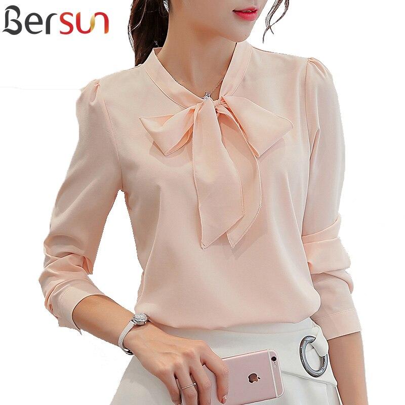 Bersun Spring Autumn The New Korean Casual Chiffon Blouse Shirt Pink White Office Women Shirt Chiffon Women Tops