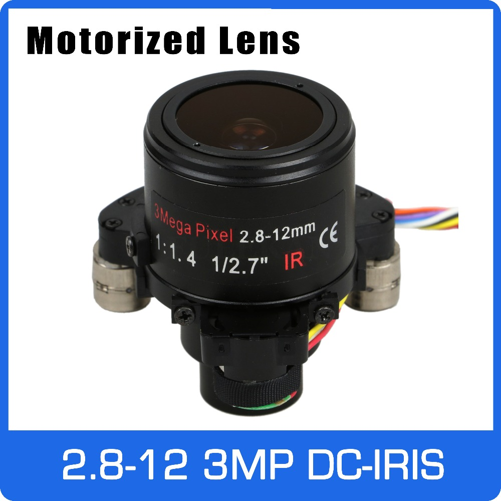 Motor 3Megapixel Varifocal CCTV Lens 2.8-12mm D14 Mount With DC IRIS and Motorized Zoom and Focus For 1080P/3MP AHD/IP Camera 3megapixel varifocal cctv lens 2 8 12mm m12 mount 1 2 7 inch with dc iris for 720p 1080p ip ahd camera free shipping