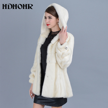 HDHOHR 2019 High Quality Real Mink Fur Coats Full Pelt Fashion Short Natural Jacket Winter Female With Hood Warm