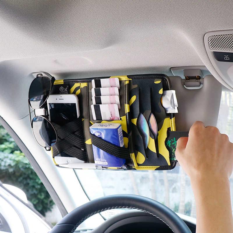 IKSNAIL авто аксессуары солнцезащитные очки клип сумка для хранения Камуфляж Солнцезащитный козырек ручка & счета & CD & бумажное полотенце & держатель для Карт Коробка для хранения