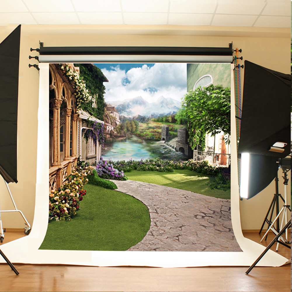 Wedding Photography Backdrops Trees Rivers  Flowers Photographic Background White Cloud House Backdrops for Photographic Studio