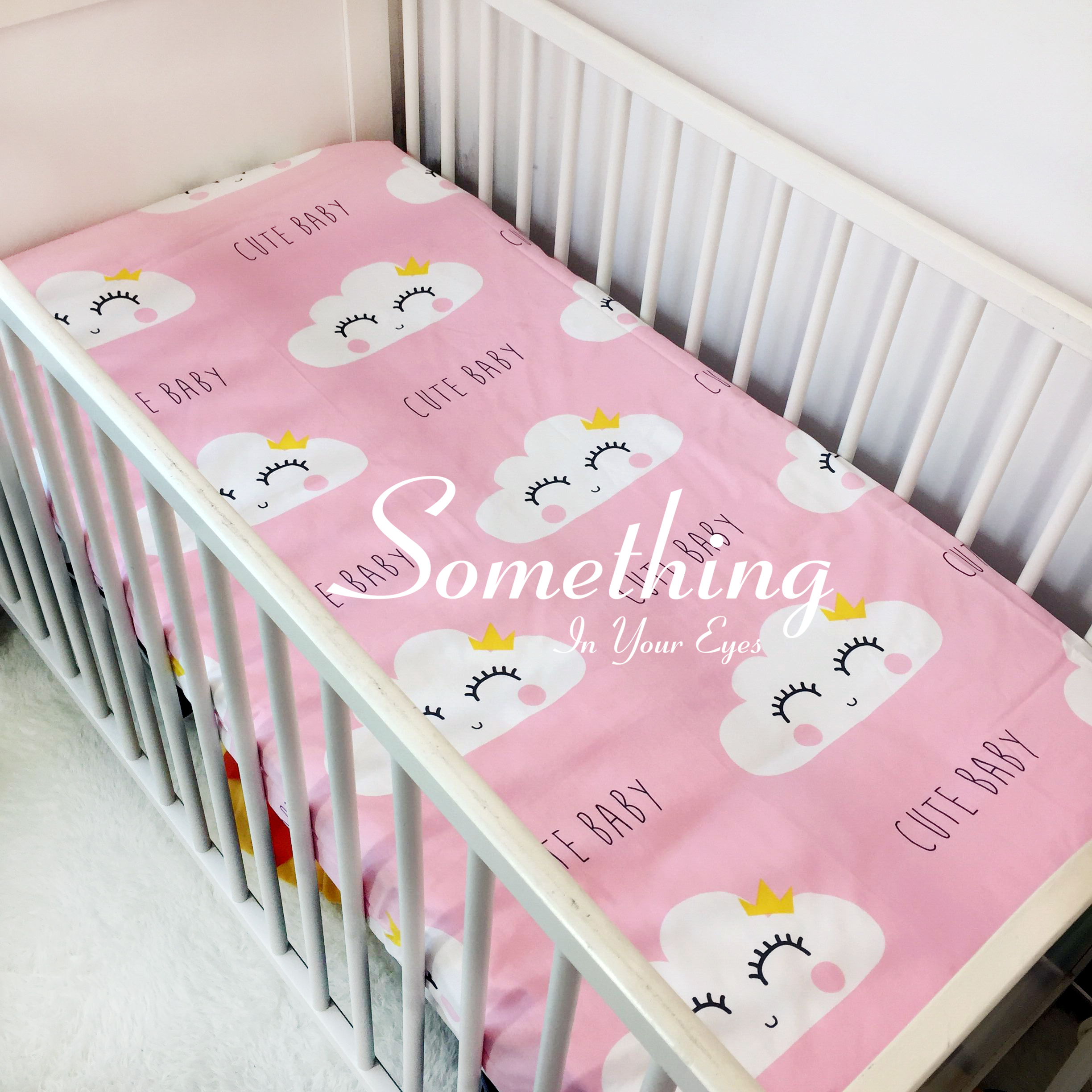1 pc Ins baby cotton fitted sheet crib mattress cover for baby girls boys crib bed sheet Whale cloud cat Sweety heart