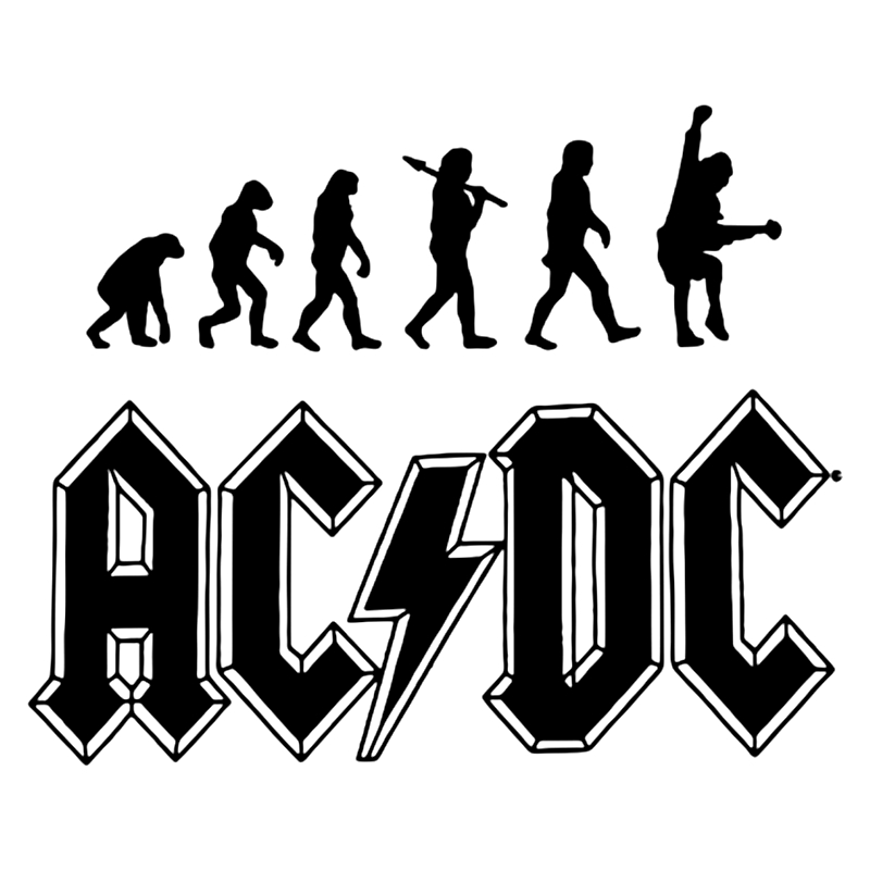 CS-161#15*18.5cm Sticker Evolution Of ACDC Funny Car Sticker And Decal Silver/black Vinyl Auto Car Stickers