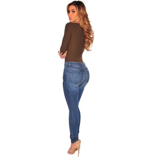 97b9a489eb3 Mid rise cut out knee ripped skinny jeans wash denim sculpt butt lift jeans  zipper in legs vintage fashion women jeans plus size