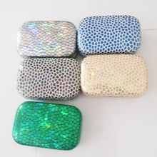 Snakeskin Cosmetic Contact lens case with mirror colored contact lens case cute Lovely Travel box Eyewear Accessories