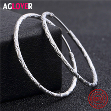 2019 New Arrivals 925 Sterling Silver Circle Earrings 100% Big Hoop Coil Women Fine Jewelry