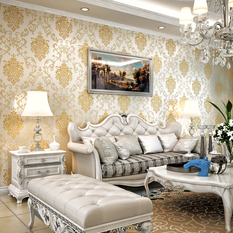 classic flocking embossed glitter luxury damask room wallpaper wall 3d damascus design wall paper rolls home