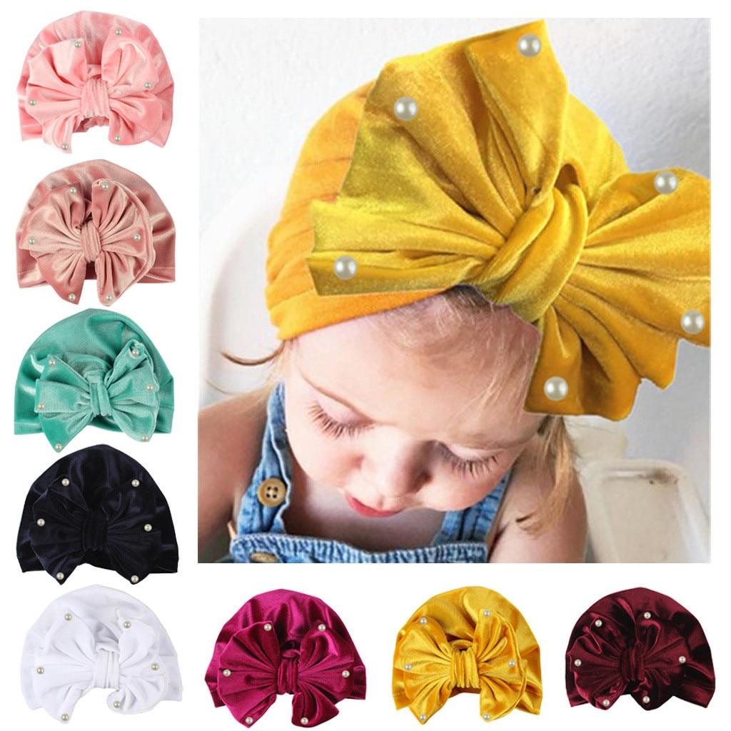 Newborn Baby Boy Girl pearls Pleuche Knotted Hat Warm Bow Beanie Headwear Cap US