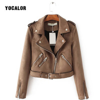 YOCALOR Suede Zipper Bomber Baseball Jacket Ladies' Leather Basic Za Womens Autumn Jackets For Female Coat Women Jaqueta Fashion
