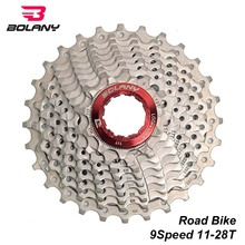 BOLANY Road Bike Freewheel 9 Speed 11-28T Gear Ratio Silver Steel Bicycle Cassette Sprocket Parts For Shimano Sram