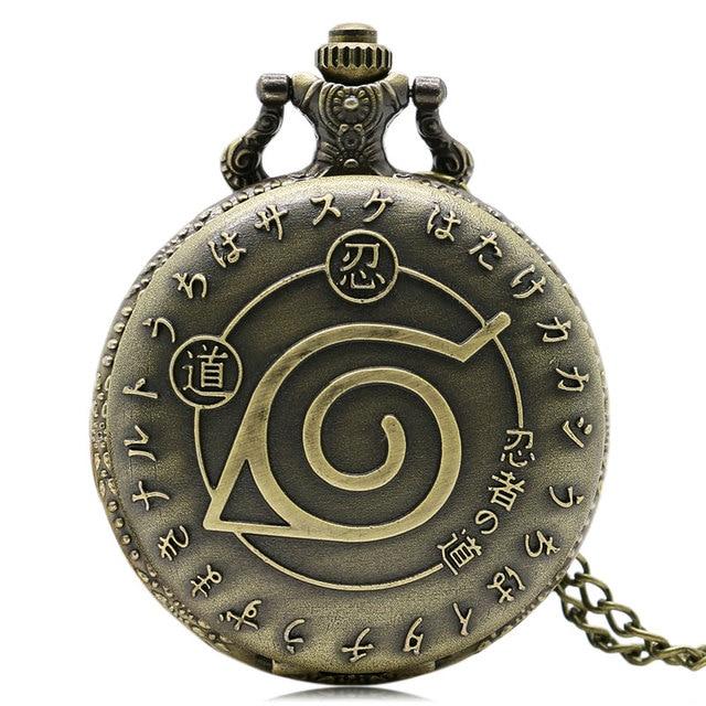 Cool Japanese Anime Naruto Ninja Theme Bronze Quartz Pocket Watch with Necklace