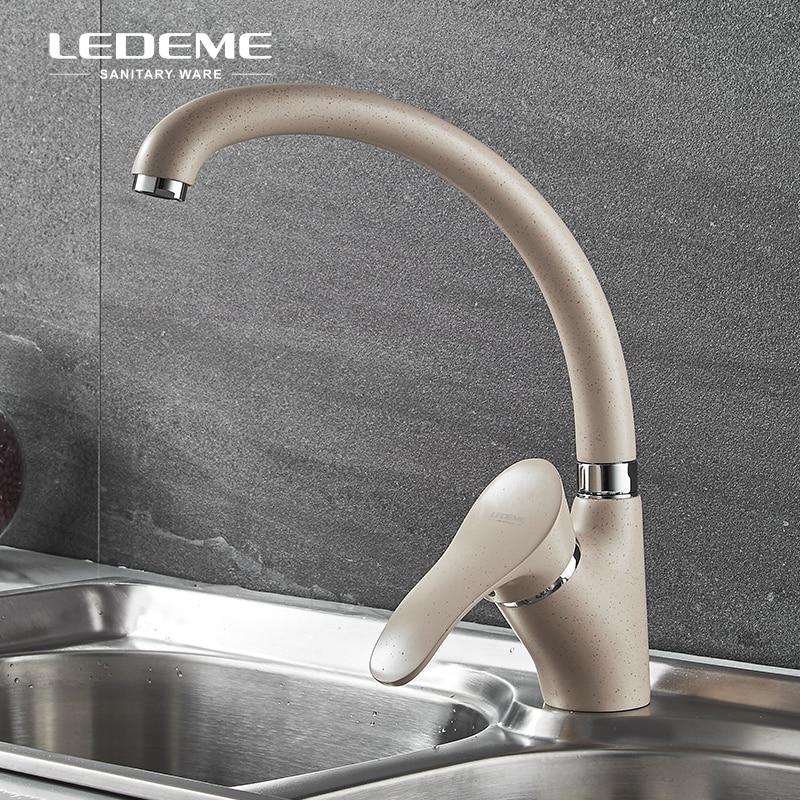 LEDEME Beige peint en laiton massif cuivre évier de cuisine robinet une poignée Bar froid eau chaude robinet mélangeur pour cuisine, L4101