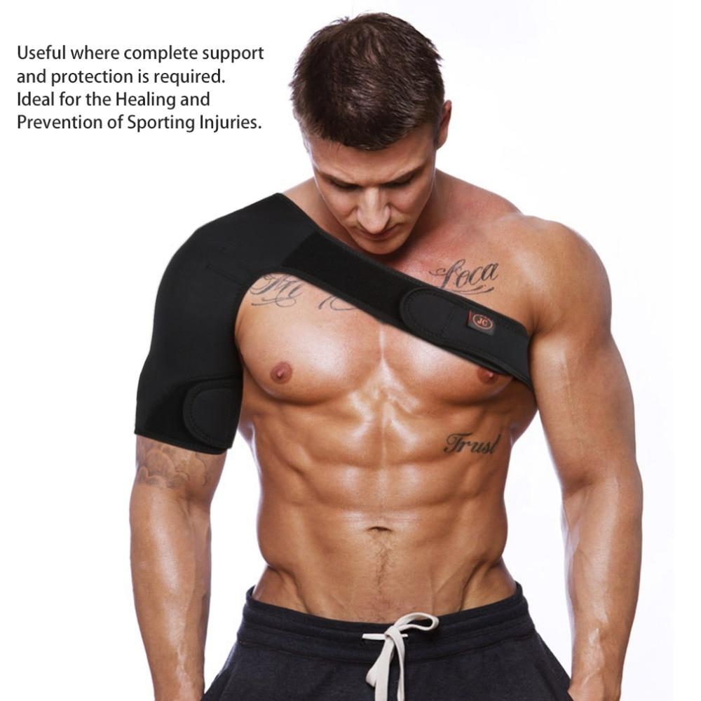 New Sports Magnetic Single Shoulder Brace Support Strap Wrap Belt Band Pad Shoulder Care Bandage Black
