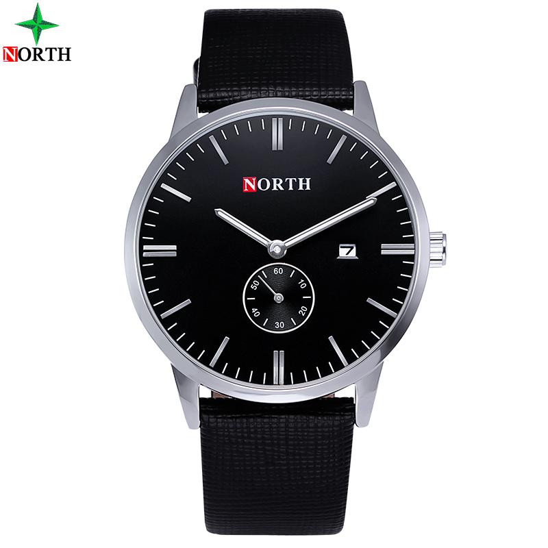 Prix pour Hommes montre top marque north rond analogique montre-bracelet mâle étanche véritable en cuir 2017 mode casual quartz hommes d'affaires montre