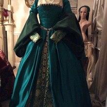 Викторианская королева елизания Тюдор период готическое сказочное платье в тюдоровском стиле Косплей Костюм Анны Болейн голубое французское платье
