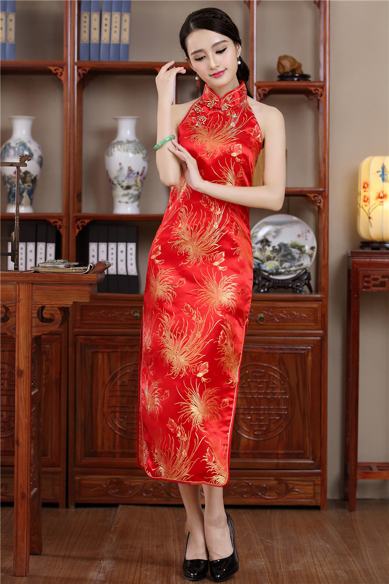 ff586a2554c3ad Shanghai Story chinese traditional Dress cheongsam qipao Halter Qipao dress  backless chinese Long dress 3 Color-in Cheongsams from Novelty & Special  Use on ...