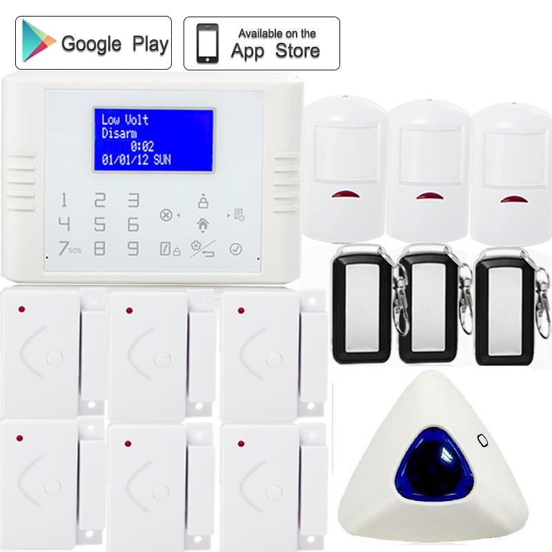 IOS Android APP LCD display with menu French/Russian/Spanish GSM PSTN home security alarm system 433 MHz wireless indoor siren wireless pager system 433 92mhz wireless restaurant table buzzer with monitor and watch receiver 3 display 42 call button