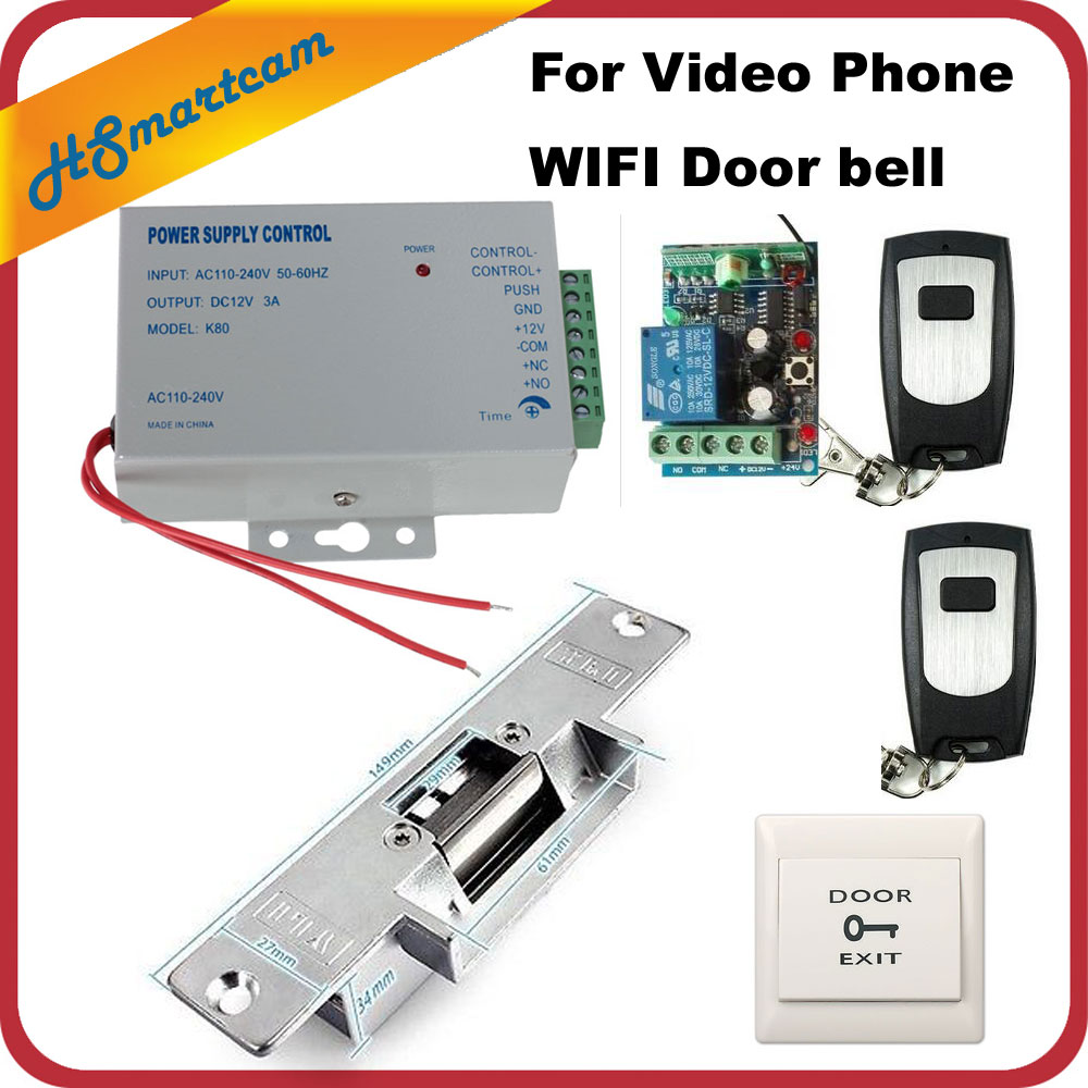 Video Intercom Door Phone System+Electric Strike Lock For Wireless IP Doorbell Camera + 2pcs Remote Control FREE SHIPPING kdb300 2 4g wireless video door viewers phone wireless colour video door phone door camera intercom designed for villa design