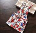 Nova Chegada Do Bebê Meninas Flor-impressão Suspender Vestido de Verão Meninas Vestidos Sem Mangas Crianças Vestido de Verão Meninas Mini Vestido Floral