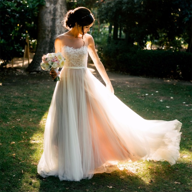 Buy beach wedding dresses 2017 boho for Wedding dress appliques suppliers