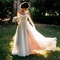 Praia Vestidos de Casamento 2017 Vestidos De Noiva Boho Chiffon Lace Apliques Vestidos de Noiva País Vestido de Noiva