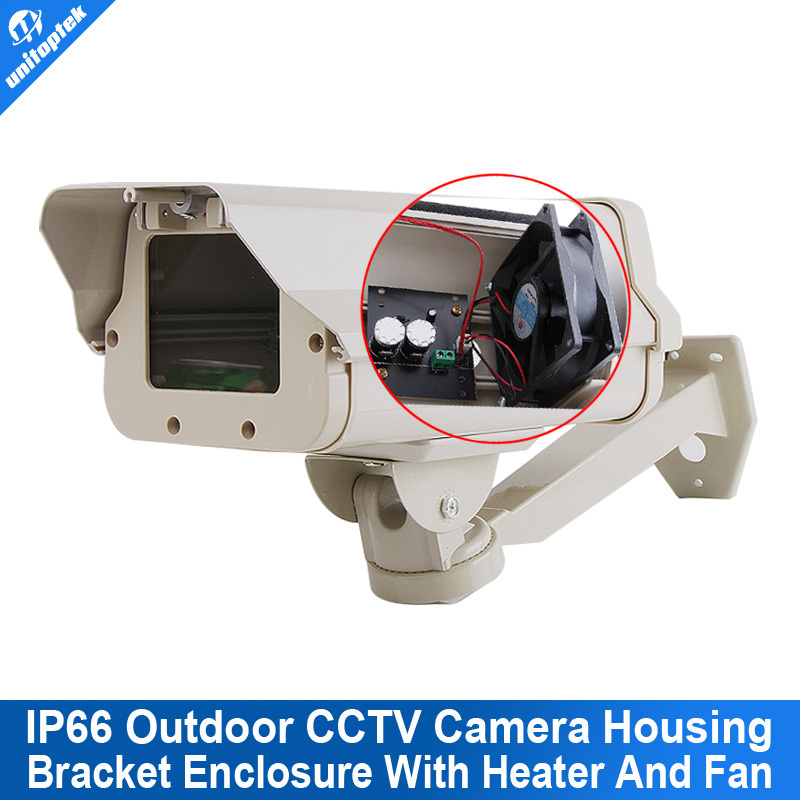 IP66 Outdoor CCTV Camera Housing Built-in Heater,Fan Aluminum Alloy For No IR Camera With Bracket For Extreme Cold Or Warm